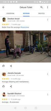 Hodnocení veřejných toalet na Google Mapy