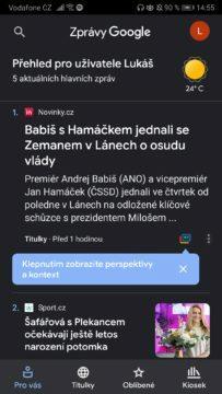 Google news - jak aktivovat tmavý režim