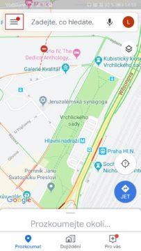 Mapy Google - temný režim