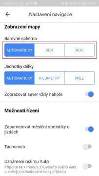 Mapy Google - temný režim - noc