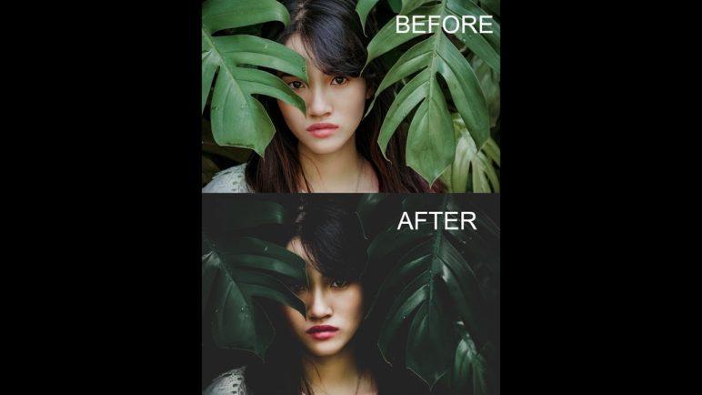 moody green effect Lightroom mobile tutorial