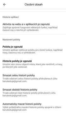 nastavení polohy google mapy