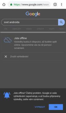 offline vyhledávání google chrome