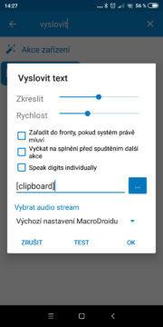 Přečíst clipboard - Akce Vyslovit text - nastavení 02