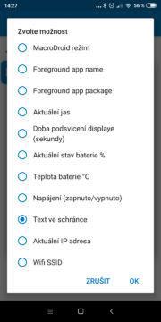 Přečíst clipboard - Akce Vyslovit text - nastavení