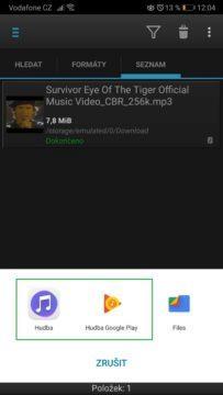 Přehrání staženého videa z YouTube