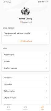 Xiaomi Mi Band 4 volby nastavení