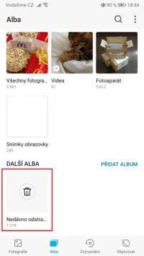 Telefon - jak obnovit fotky - nedávno smazané