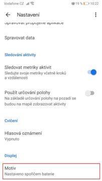 Temný režim - Google Fit