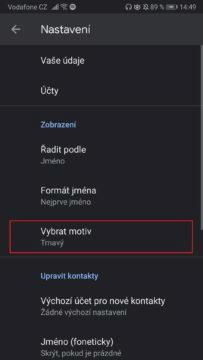 Tmavý režim - Google kontakty