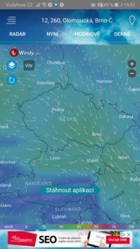 Výskyt srážek, mraků a bouřky - Česko