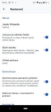 Wikipedie – možnosti nastavení