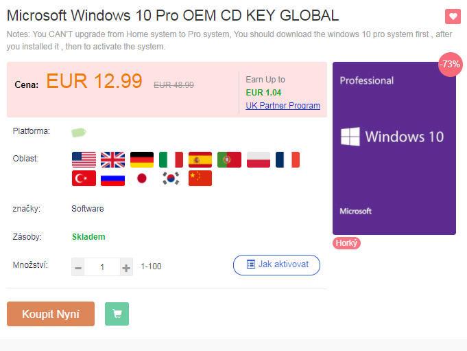 Windows 10 Pro cena