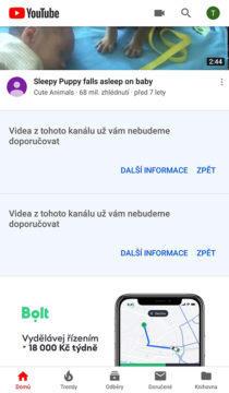 youtube aplikace úprava homepage