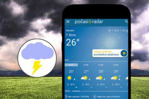 Aplikace Počasí & Radar bourky