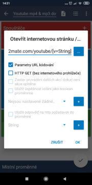 Automatizace - stáhnout z YouTube - Akce otevřít y2mate