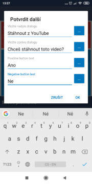 Automatizace - stáhnout z YouTube - Akce text