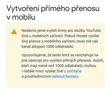 limit živé vysílání youtube android