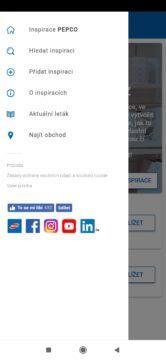 Postranní nabídka aplikace