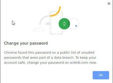 prolomené heslo upozornění