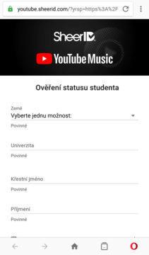studentské předplatné youtube