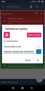 Zablokovat vypínací obrazovku - vyskakovací okno nastavení