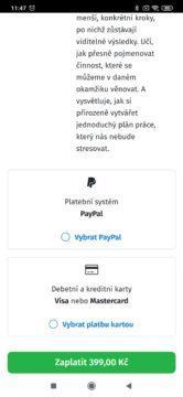 Platba kartou, nebo přes PayPal