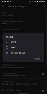 tmavy rezim pro gmail android
