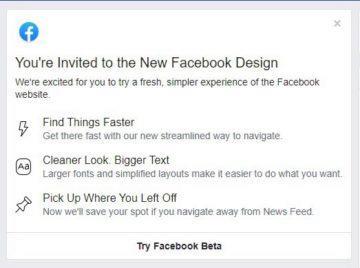 facebook webové rozhraní