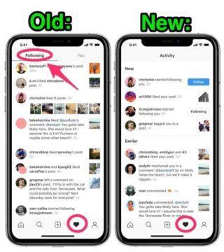 instagram záložka sledování aktivita