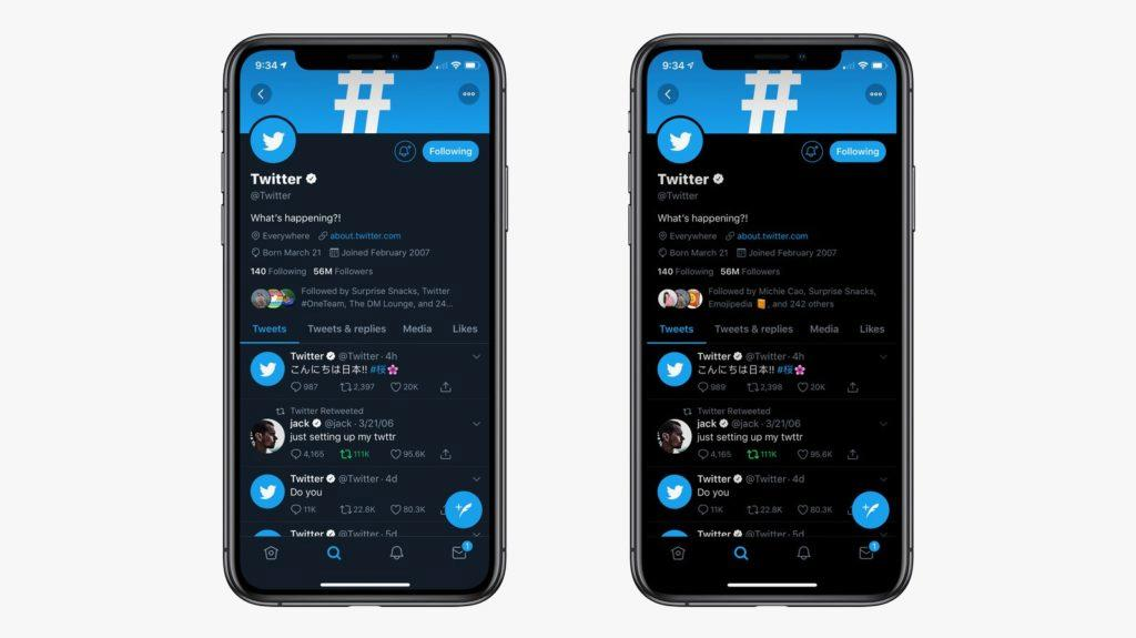twitter tmavý režim lights out