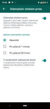 whatsapp zabezpečení