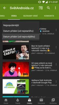 mobilní aplikace YouTube řazení videí