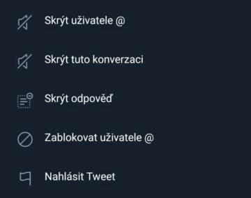 skryvani odpovedi na Twitteru screen