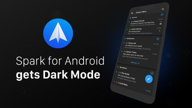 Spark Email for Android gets stylish Dark Mode
