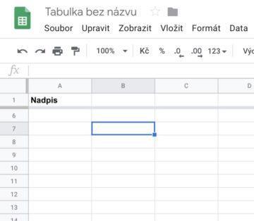 Google Sheets ukotvení řádku