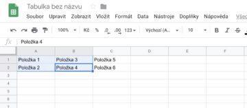 Jak sloučit buňky google sheets