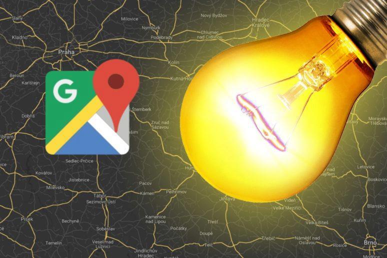 Google Mapy dobře osvětlené ulice