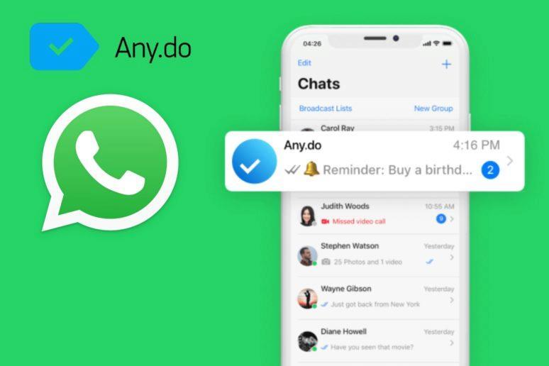 úkolovník Any.do ve WhatsApp