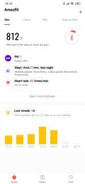Amazfit app základní obrazovka