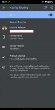 Fast Share Nearby Sharing screen 2