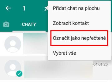 nepřečtená zpráva whatsapp