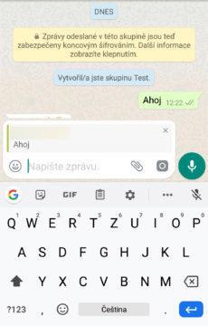 označení ve zprávě WhatsApp