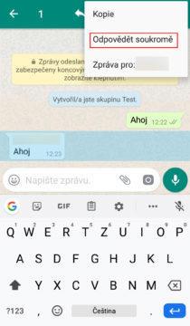 soukromé zprávy whatsapp
