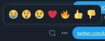 Twitter reakce zprávy emotikony náhled