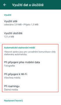 úspora dat whatsapp