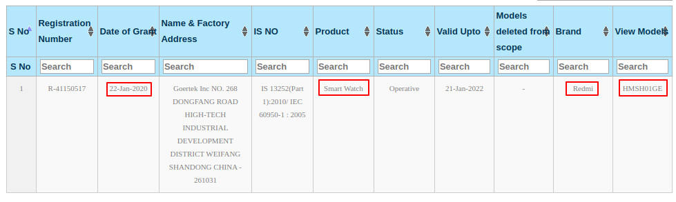 Xiaomi Redmi chytré hodinky BIS certifikace