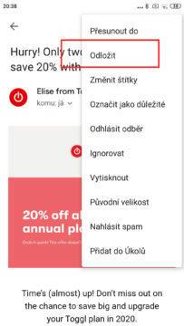 aplikace gmail odložení pošty