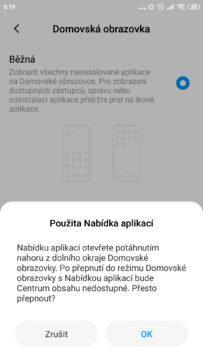 jak zapnout nabídku aplikací Xiaomi nápověda