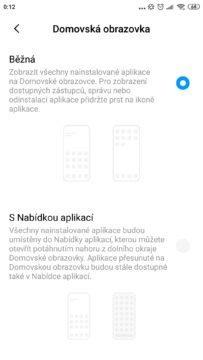 jak zapnout nabídku aplikací Xiaomi přepnutí